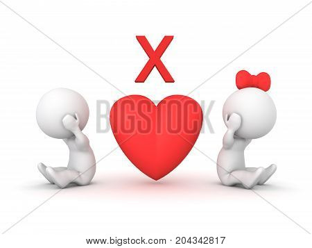 3D illustration depicting relationship problems or a break up. Image relating to romantic dating.