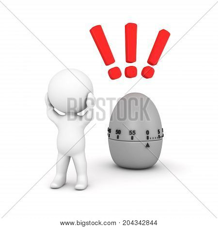 3D Character stressed because deadline is closing. Isolated on white.