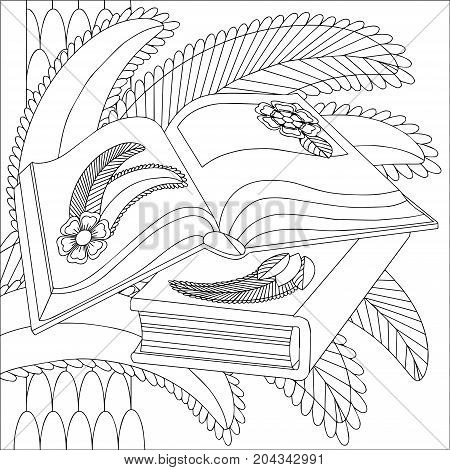 Vector Black And White Illustration Of Two Books With Floral Pattern