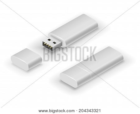 USB white big flash pen drive, black flash disk. Vector illustration in 3D looks isometry