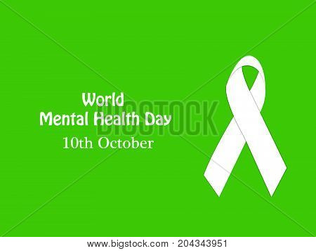 illustration of ribbon with World Mental Health Day 10th October text on the occasion of World Mental Health Day