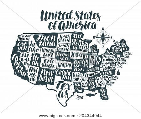 USA map country, United States of America. Lettering, typographic design vector illustration isolated on white background