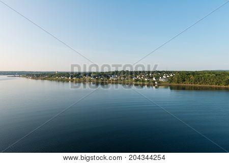 Homes along the Sydney River Nova Scotia Canada