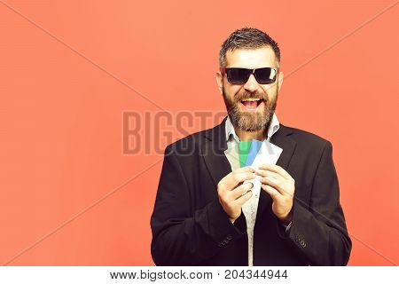 Business And Luck Concept. Businessman With Empty Cards