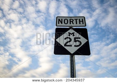 Northbound M 25 In Michigan. Roadside sign for popular M 25 along the Lake Huron coast. The highway travels through the beach towns of Lexington, Port Sanilac, Harbor Beach, Caseville, and Pt. Austin