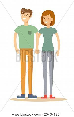 Full portrait of happy couple isolated on white background. Attractive man and woman being playful. Stock flat vector illustration.