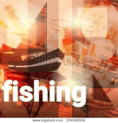 Fishing concept: sailboat and fishes. Vector illustration