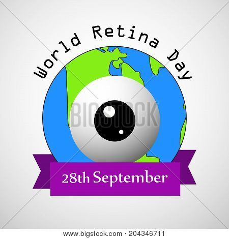 illustration of Retina on earth background with World Retina Day 28th September text on the occasion of World Retina Day