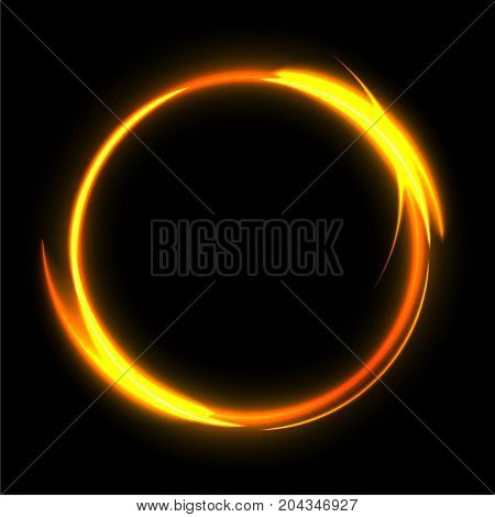Vector Fire circle on black background. Fire ring glowing trace. Fire gold circle.