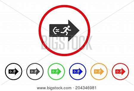 Exit Direction icon. Vector illustration style is a flat iconic exit direction gray rounded symbol inside red circle with black, gray, green, blue, red, orange color variants.