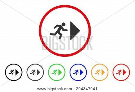 Exit Direction icon. Vector illustration style is a flat iconic exit direction grey rounded symbol inside red circle with black, gray, green, blue, red, orange color variants.