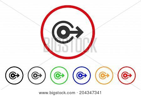 Log Out icon. Vector illustration style is a flat iconic log out gray rounded symbol inside red circle with black, gray, green, blue, red, orange color versions.
