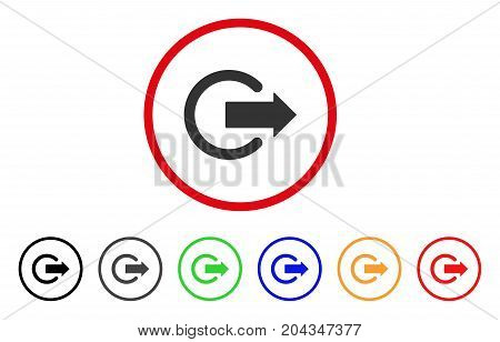 Logout icon. Vector illustration style is a flat iconic logout grey rounded symbol inside red circle with black, gray, green, blue, red, orange color versions.
