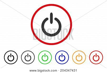 Turn Off icon. Vector illustration style is a flat iconic turn off grey rounded symbol inside red circle with black, gray, green, blue, red, orange color versions.