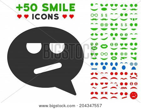 Bored Smiley Message pictograph with bonus emoticon pictograms. Vector illustration style is flat iconic symbols for web design, app user interfaces.