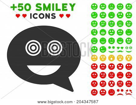 Crazy Smiley Message icon with bonus mood images. Vector illustration style is flat iconic elements for web design, app user interfaces.