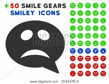 Crisis Smiley Message pictograph with bonus emotion pictures. Vector illustration style is flat iconic elements for web design, app user interfaces.