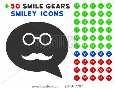Grandfather Smiley Message icon with bonus facial pictures. Vector illustration style is flat iconic elements for web design, app user interfaces.