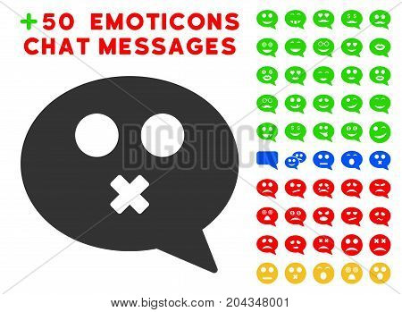 Mute Smiley Message pictograph with bonus mood icon set. Vector illustration style is flat iconic symbols for web design, app user interfaces.