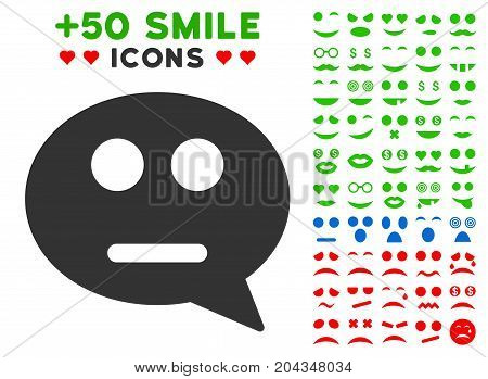 Neutral Smiley Message pictograph with bonus smile pictograph collection. Vector illustration style is flat iconic symbols for web design, app user interfaces.