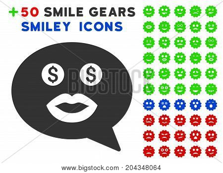 Prostitute Smiley Message pictograph with bonus emotion pictograms. Vector illustration style is flat iconic symbols for web design, app user interfaces.