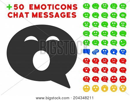 Sleepy Smiley Message pictograph with bonus facial symbols. Vector illustration style is flat iconic symbols for web design, app user interfaces.