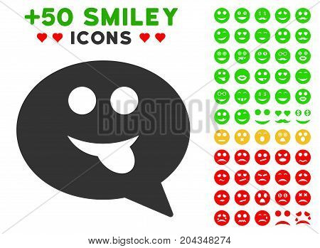 Tongue Smiley Message pictograph with bonus mood graphic icons. Vector illustration style is flat iconic symbols for web design, app user interfaces.