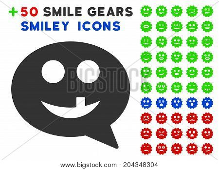 Tooth Smiley Message icon with bonus facial pictograph collection. Vector illustration style is flat iconic elements for web design, app user interfaces.