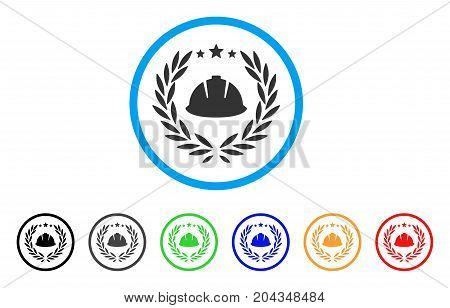 Developer Laureal Wreath icon. Vector illustration style is a flat iconic developer laureal wreath gray rounded symbol inside light blue circle with black, gray, green, blue, red,