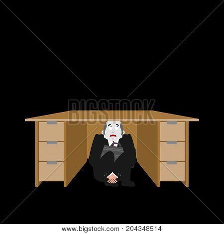 Businessman Scared Under Table. Frightened Business Man Under Work Board. Boss Fear Office Desk. Vec