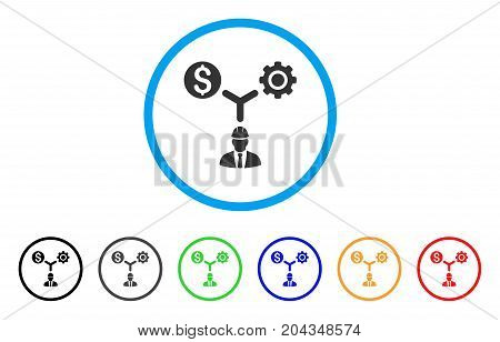 Development Relations icon. Vector illustration style is a flat iconic development relations gray rounded symbol inside light blue circle with black, gray, green, blue, red,