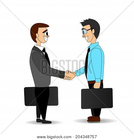 Business men in suit and shirt with portfolios in hand. Handshake