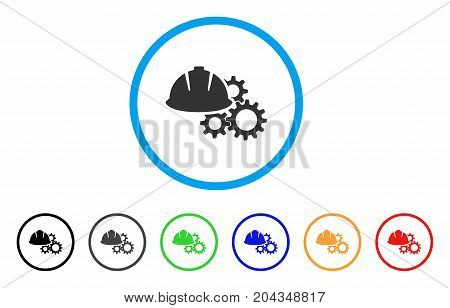 Engineering Helmet And Gears icon. Vector illustration style is a flat iconic engineering helmet and gears grey rounded symbol inside light blue circle with black, gray, green, blue, red,