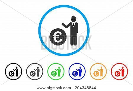 Euro Developer icon. Vector illustration style is a flat iconic euro developer grey rounded symbol inside light blue circle with black, gray, green, blue, red, orange color variants.