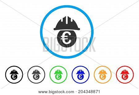 Euro Under Safety Helmet icon. Vector illustration style is a flat iconic euro under safety helmet grey rounded symbol inside light blue circle with black, gray, green, blue, red,