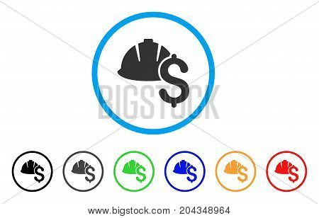 Helmet And Dollar icon. Vector illustration style is a flat iconic helmet and dollar grey rounded symbol inside light blue circle with black, gray, green, blue, red, orange color variants.