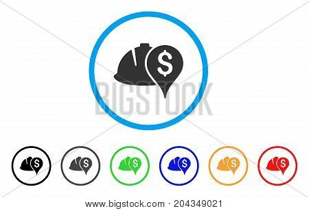 Helmet And Money Pointer icon. Vector illustration style is a flat iconic helmet and money pointer grey rounded symbol inside light blue circle with black, gray, green, blue, red,