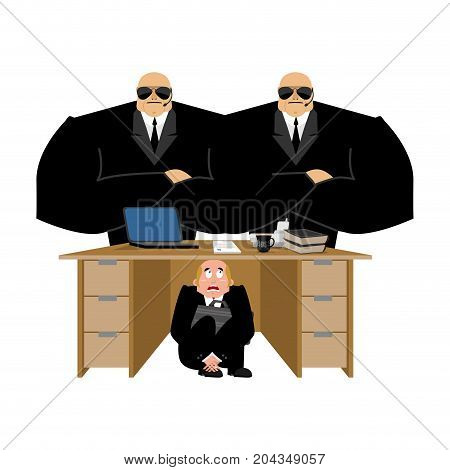 Businessman Scared Under Table Of Collector. Frightened Business Man Under Work Board. Repay Debts.