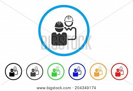 Industrial Users icon. Vector illustration style is a flat iconic industrial users gray rounded symbol inside light blue circle with black, gray, green, blue, red, orange color additional versions.