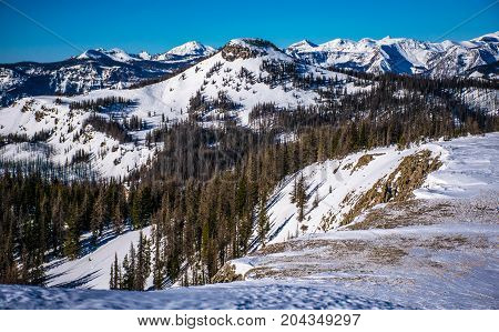 High Altitude Mountain Peaks in the High Country of Colorado Rocky Mountains of Wolf Creek Pass Winter Wonderland Landscape