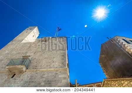 View at old historical buildings in Komiza town, dalmatian traditional architecture in Croatia.