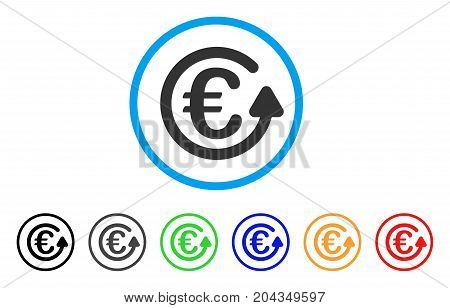 Euro Chargeback icon. Vector illustration style is a flat iconic euro chargeback gray rounded symbol inside light blue circle with black, gray, green, blue, red, orange color additional versions.