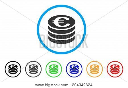 Euro Coin Column icon. Vector illustration style is a flat iconic euro coin column grey rounded symbol inside light blue circle with black, gray, green, blue, red, orange color additional versions.
