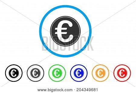Euro Coin icon. Vector illustration style is a flat iconic euro coin gray rounded symbol inside light blue circle with black, gray, green, blue, red, orange color additional versions.