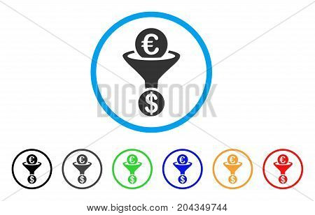 Euro Currency Conversion Funnel icon. Vector illustration style is a flat iconic euro currency conversion funnel grey rounded symbol inside light blue circle with black, gray, green, blue, red,