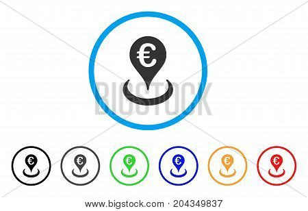 Euro Location icon. Vector illustration style is a flat iconic euro location grey rounded symbol inside light blue circle with black, gray, green, blue, red, orange color variants.