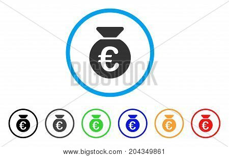 Euro Money Bag icon. Vector illustration style is a flat iconic euro money bag gray rounded symbol inside light blue circle with black, gray, green, blue, red, orange color variants.