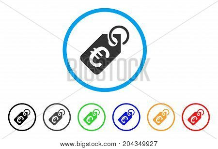 Euro Price Tag icon. Vector illustration style is a flat iconic euro price tag gray rounded symbol inside light blue circle with black, gray, green, blue, red, orange color versions.