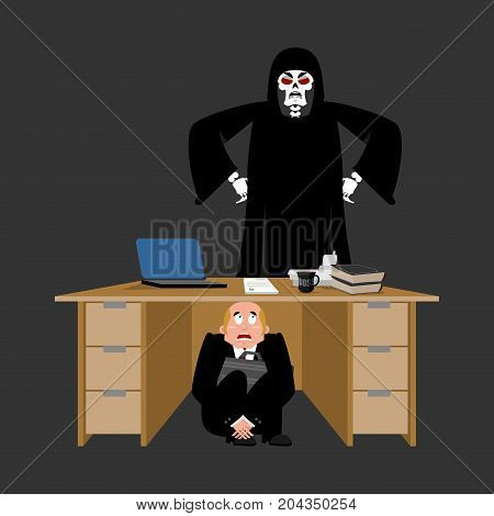 Businessman Scared Under Table Of Grim Reaper. Frightened Business Man Under Work Board. Does Not Wa