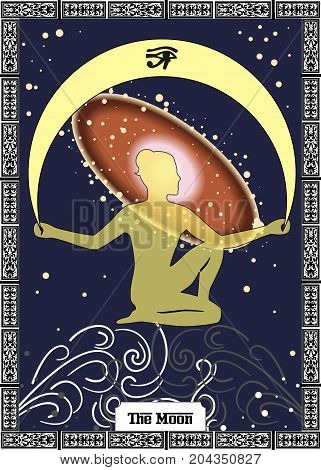 the illustration - card for tarot - the moon.